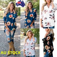 Women Summer 3/4 Sleeve V Neck Floral Print Boho Shirt Chiffon Tops Loose Blouse