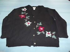 Classic Elements Petite Black Cristmas Winter Flowers Sweater Size L cute ugly