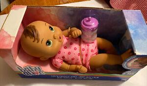 """Baby Alive Luv 'N Snuggle Baby Brown Hair Medium Skin Green Eyes Bottle 13"""" Doll"""