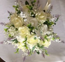 Wedding Flowers  Brides  White & Lemon Roses, Gyp, White Lavender  Posy Bouquet
