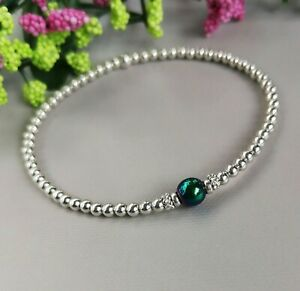 925 Sterling Silver Rainbow colour Hematite Bracelet stacking