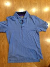 Robert Graham Polo Shirt Embroidered Golf Rugby Collar Dress Mens Blue XS Small