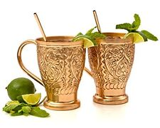 Moscow Mule 100% Pure Copper Embossed Mugs 16 oz. Bonus Copper Straws for or Set