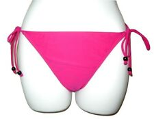 RESORT Bikini Bottoms UK 12  Pink String Side Ties Black Bead Swimwear VN001