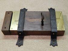 More details for large antique 31.5cm rh victorian oak cased dead / rim lock + keep & key