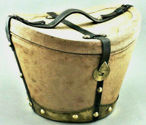 Hutschachtel Messing Applikationen Zylinder Hut Koffer Vintage Hatbox (71)