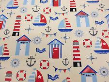 "Crema barcos, playa cabañas, anclas, ""Marina"" impreso en 100% Algodón Popelín de tela."