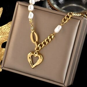 Woman 18K Gold Plated Stainless Steel Heart Baroque Pearl Chain Necklace 17''