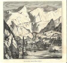 Stampa antica VENTIMIGLIA Ponte San Luigi Aurelia Imperia Liguria 1847 Old print