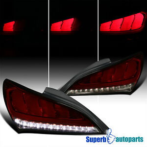 For 2010-2016 Hyundai Genesis Coupe Red Smoke Sequential LED Tail Lights Pair