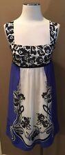 ANTHROPOLOGIE MAEVE 4 S BLACK BLUE WHITE COTTON FLORAL LINED DRESS ADORABLE!