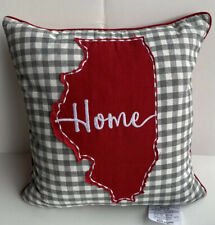 Illinois Home State Stitch Throw Pillow Plaid Check Gray White Red Love Gift