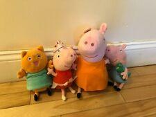 Peppa Pig  Plush Lot : TY Beanie & Peppa Toys - Momma, Peppa, George & Cat/ 4Pcs