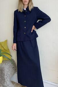 Ter Et Bantine Italy Suit Blazer Jacket Long Skirt IT 46 Uk 10 12 Navy Wool