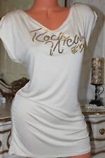 (Ref23) ROCAWEAR Light Beige Ladies Elasticated Sequined Logo Tunic/Top size L