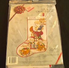 "Something Special 17"" Christmas Stocking Kit Santa & Elves Counted Cross Stitch"