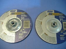 """LOT OF TWO 7"""" ANGLE METAL CUTOFF GRINDING WHEELS 7"""" X 1/4 X 5/8-11"""