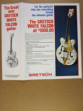 1966 Gretsch White Falcon Electric Guitar color photo vintage print Ad