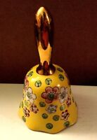 Hand Painted Viking Porcelain Bell Made in Japan Yellow with Flowers Gold Handle