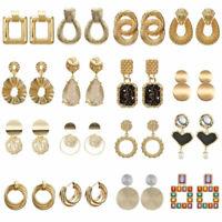 UK Womens Earrings Round Square Dangle Ear Studs Geometry Fashion Drop Earrings