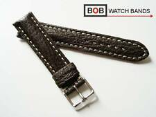 BOB ECHT HAIFISCH LEDERUHRBAND 20 mm Braun Kompatibel mit Breitling Fliegeruhr