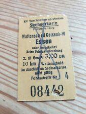 Deutsche Bahn Alte Sechserkarte von Wattenscheid nach Essen 3.00 DM