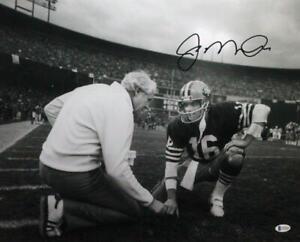 Joe Montana Autographed 49ers 16x20 Photo Kneeling w/ Walsh- Beckett Wit *Black