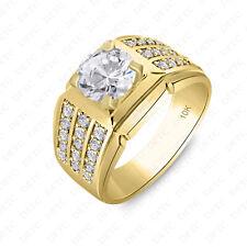 Klassisch Königliche Künstlicher Diamant 10kt Massiv Gelbgold Herren Ehering