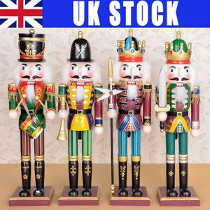 4X SET 30CM Wooden Nutcracker Soldier Handcraft Walnut Puppet Toy Christmas Gift