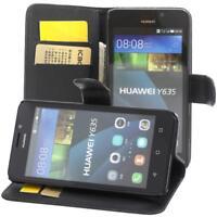 Huawei Y635 Custodia a Portafoglio Protettiva wallet case cover Nero