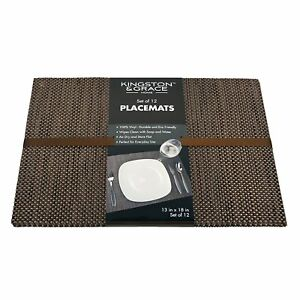 Kingston & Grace 12 Count Weave Placemat, Brown