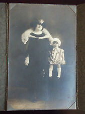 Vintage Photo Woman Full Fox Pelt & Baby Girl Stephens Studio Los Angeles CA