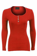 Womens Diamond Button Fitted Ribbed Long Sleeve Top Ladies Tshirt Size 8- 14 Coral 10 (m)
