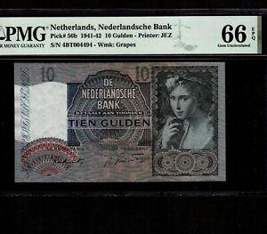 Netherlands 10 Gulden 1942 P-56b * PMG Gem Unc 66 EPQ * Nice Serial 004494 *