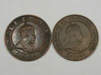 2 XF Canadian Large Cent Pennies (w/ Full Crowns): 1902 & 1903. CANADA.  #125