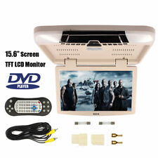 "15.6"" Car TFT LCD Screen Flip Down Roof Mount DVD Player Video Monitor FM USB SD"
