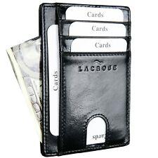 Slim Minimalist Luxury Genuine Leather Front Pocket RFID Blocking Wallet, Black