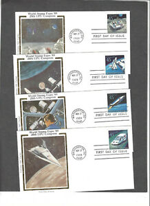 #C122-5 45c UPU FUTURISTIC MAIL SET FDCS- NOV 27-1989 COLORANO SILK CACHETS