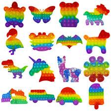 Pop it Fidget Toy Bubble Blase Regenbogen Muschel Quadrat Bär Schmetterling usw