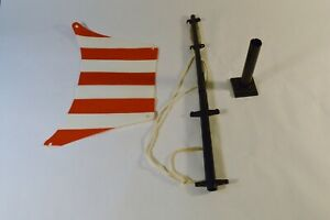 Vintage Lego Red Striped Pirate Flag with Pole and Base