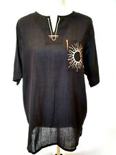 Hijo Phillipines Womens Black Cheese Cloth Sun Pocket Tunic Top Size Large NWT