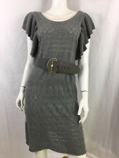 MONSOON GREY SPARKLY GLITZY JUMPER DRESS SIZE M UK 12 14 (WITH BELT) - MINT CON