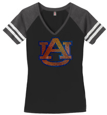Women's Auburn University Tigers Football Ladies Bling V-neck Shirt S-3XL