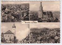 Ansichtskarte Weida in Thüringen - Ortsansicht/Osterburg/Rathaus - schwarz/weiß