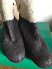 "DAVID TATE ""Walk"" 11W Black Antique Leather Shoes Ankle Boot Faux Sherpa SideZip"