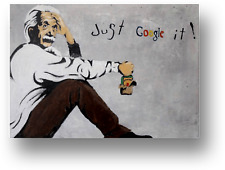 BANKSY EINSTEIN JUST GOOGLE IT CANVAS PICTURE PRINT WALL ART FRAMED E9