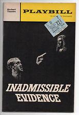 Inadmissible Evidence Shubert Theatre Playbill 1966 Nicol Williamson P Sallis VG