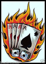 FLAMING POKER ACE CARDS LUCKY SNAKE EYES DICE CASINO GAMBLER~TEMPORARY TATTOO