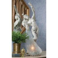 "28"" Art Nouveau Nude Maiden Peacock Illuminated Sculpture Table Lamp"