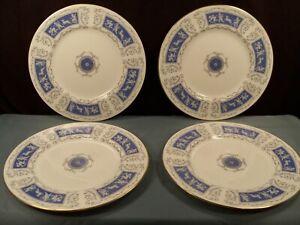"Set of 4 Coalport REVELRY BLUE Dinner Plates 10 3/4"" Wide Gold Trim Cherubs"
